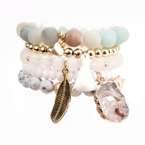 Bead and Druzy Bracelet Sets
