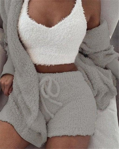 Women's Fleece 3 Piece Pajamas Set Sleepwear