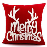Wool Embroidered Christmas Cotton Santa Snowflake Elk Throw Pillow Pillowcase Cover Home Decor Gift 45CM New Year