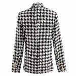Houndstooth Double Breasted Tweed Wool Blazer