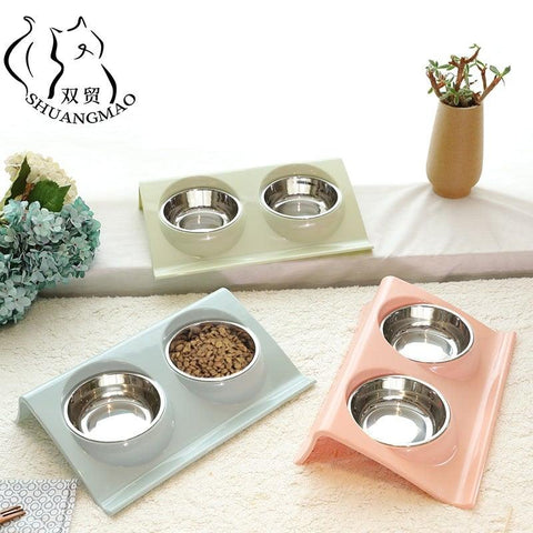 Pet Double Bowls Food & Water Feeder for Dogs & Cats