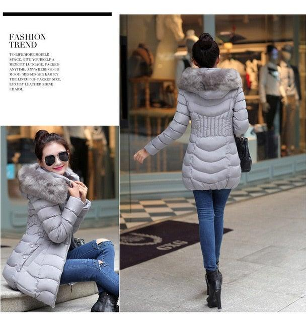 Hooded Down Cotton Stylish Jacket with Faux Fur Hood