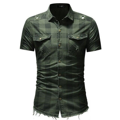 Distressed Plaid Checkered Short Sleeved Button Down Shirt for Men