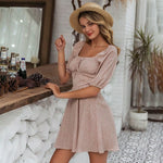 Boho Vintage Square Collar Casual Women's Dress