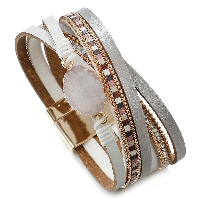 Amorcome Stone Multilayer Wrap Bracelets For Women