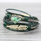 STRATHSPEY Green Leather Bracelets for Women Multilayer Druzy Bracelet Vintage Feather Charm bracelet Pulseras mujer 2020