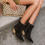 Autumn Retro Pointed Toe Low Heel Ankle Boots