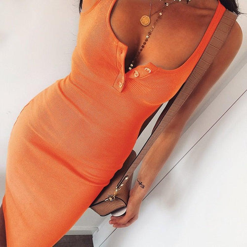Ribbed Tank Top Cotton Casual Knee-Length Dress