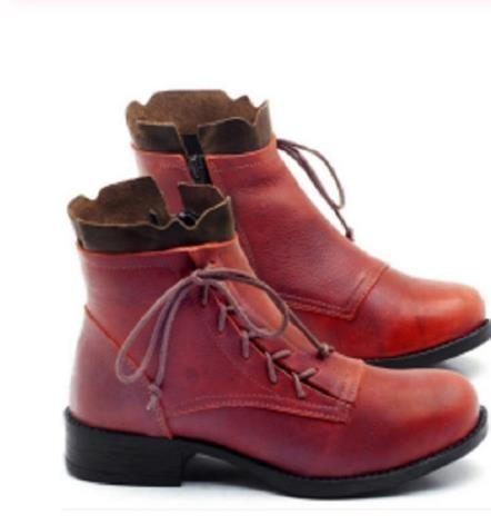 Vintage Strappy Leather Ankle Zipped Boots For Women