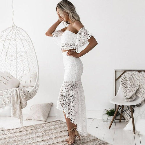 SENORITA Lace Crop Top with High Waist Mermaid Skirt- 2 Piece Set