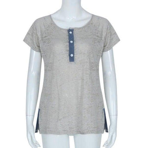 Women Casual V Neck Clothing T-shirt Top Blouse with Short Sleeve
