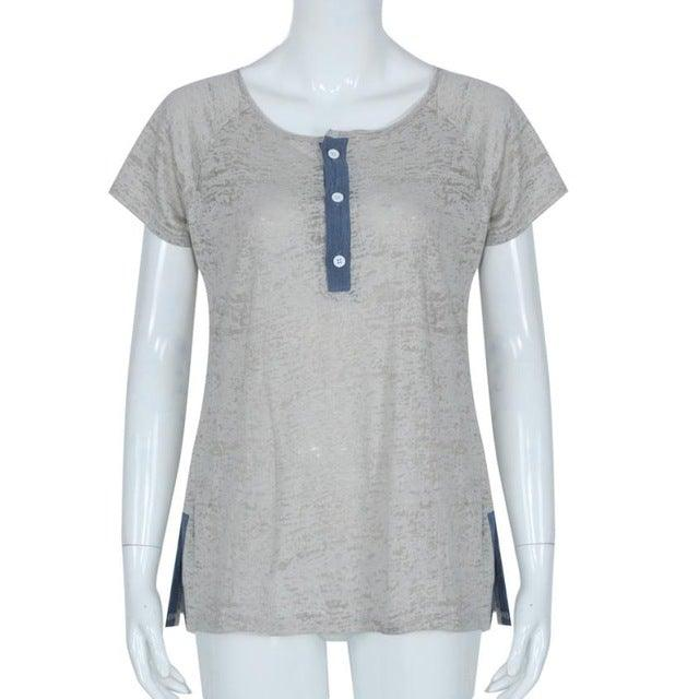 Casual V Neck Loose Fit T-shirt Top