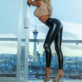 Shinny Leather leggings Pants for Women