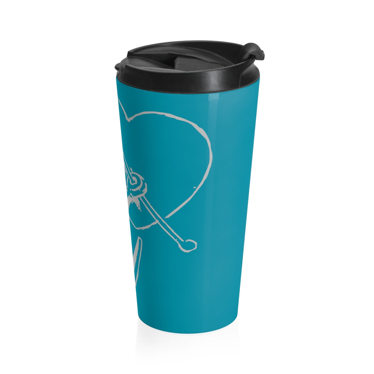 Anchored in Love 15 oz. Stainless Steel Drink Tumbler in Turquoise - Nauti Details