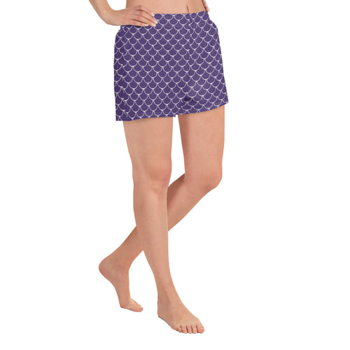 Mermaid Fish Scale All-Over Print Women's Athletic Short Shorts in Purple Rush - Nauti Details