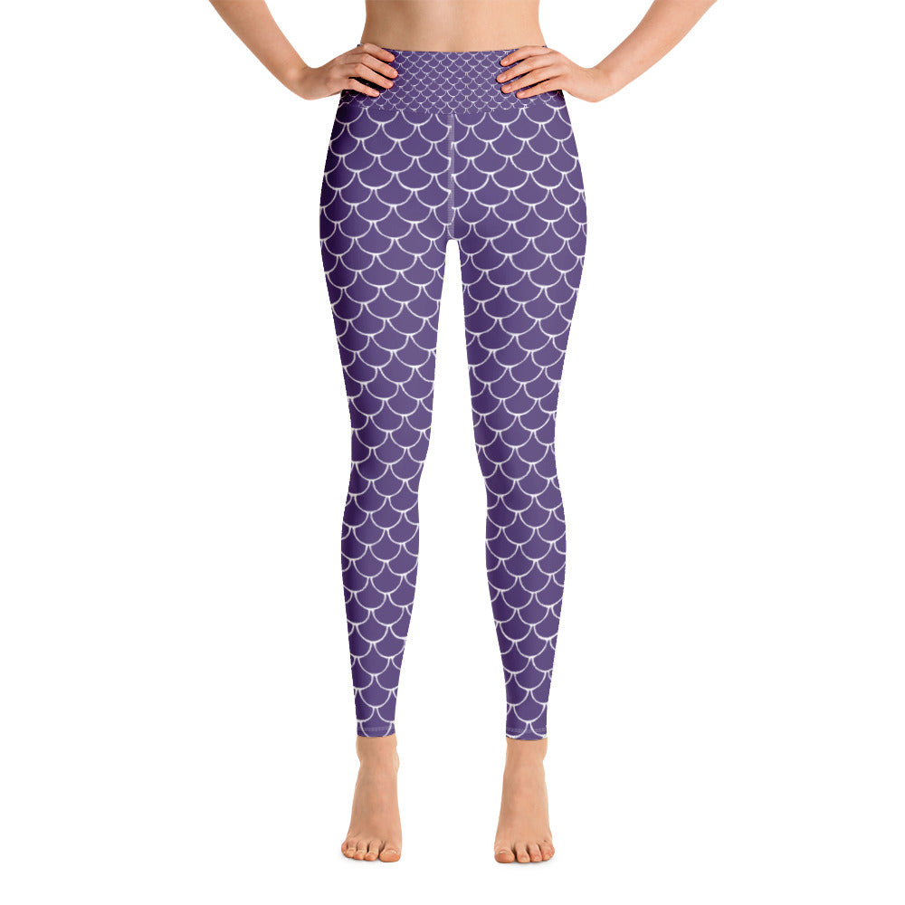 Mermaid Fish Scale Purple Rush Yoga Leggings - Nauti Details