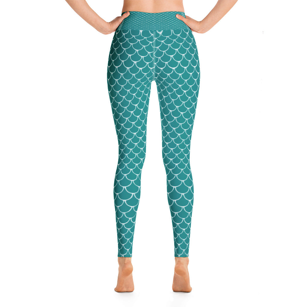 Mermaid Fish Scale Turquoise Yoga Leggings - Nauti Details