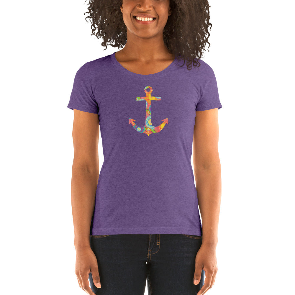 Colorful Anchor Women's Short Sleeve T-Shirt - Nauti Details