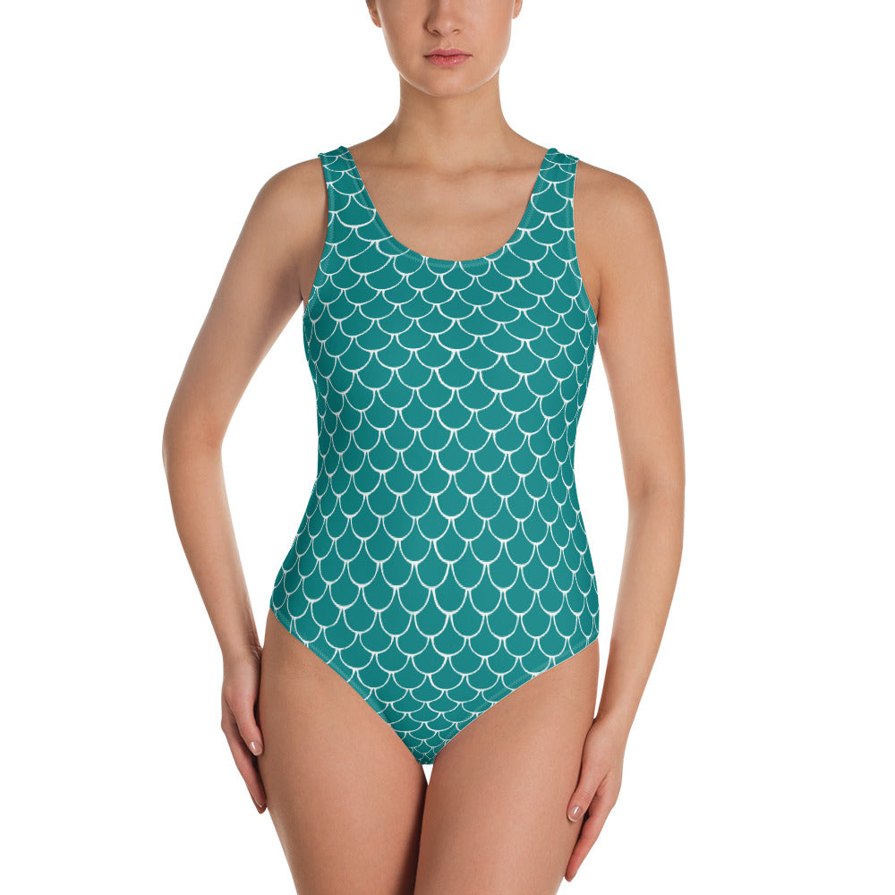 Mermaid Fish Scale Turquoise One-Piece Swimsuit - Nauti Details