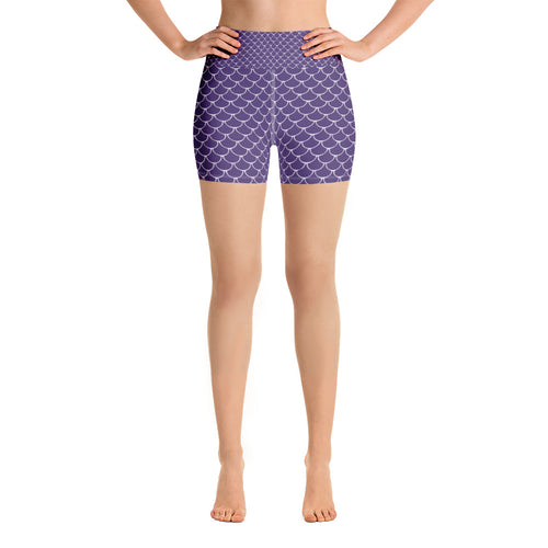 Mermaid Fish Scale Purple Rush Yoga Shorts - Nauti Details