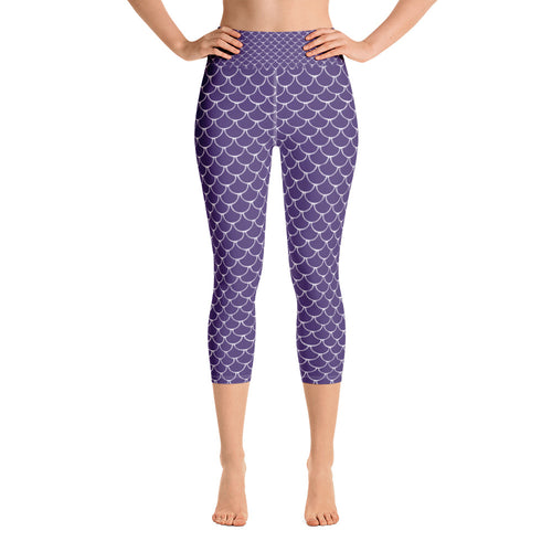 Mermaid Fish Scale Purple Rush Yoga Capri Leggings - Nauti Details
