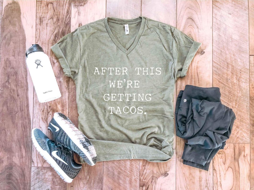 After this we're getting tacos tee Fitness tee Next Level 6240 military green