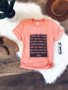 Always pray tee Short sleeve religious tee Bella Canvas 3001 heather sunset