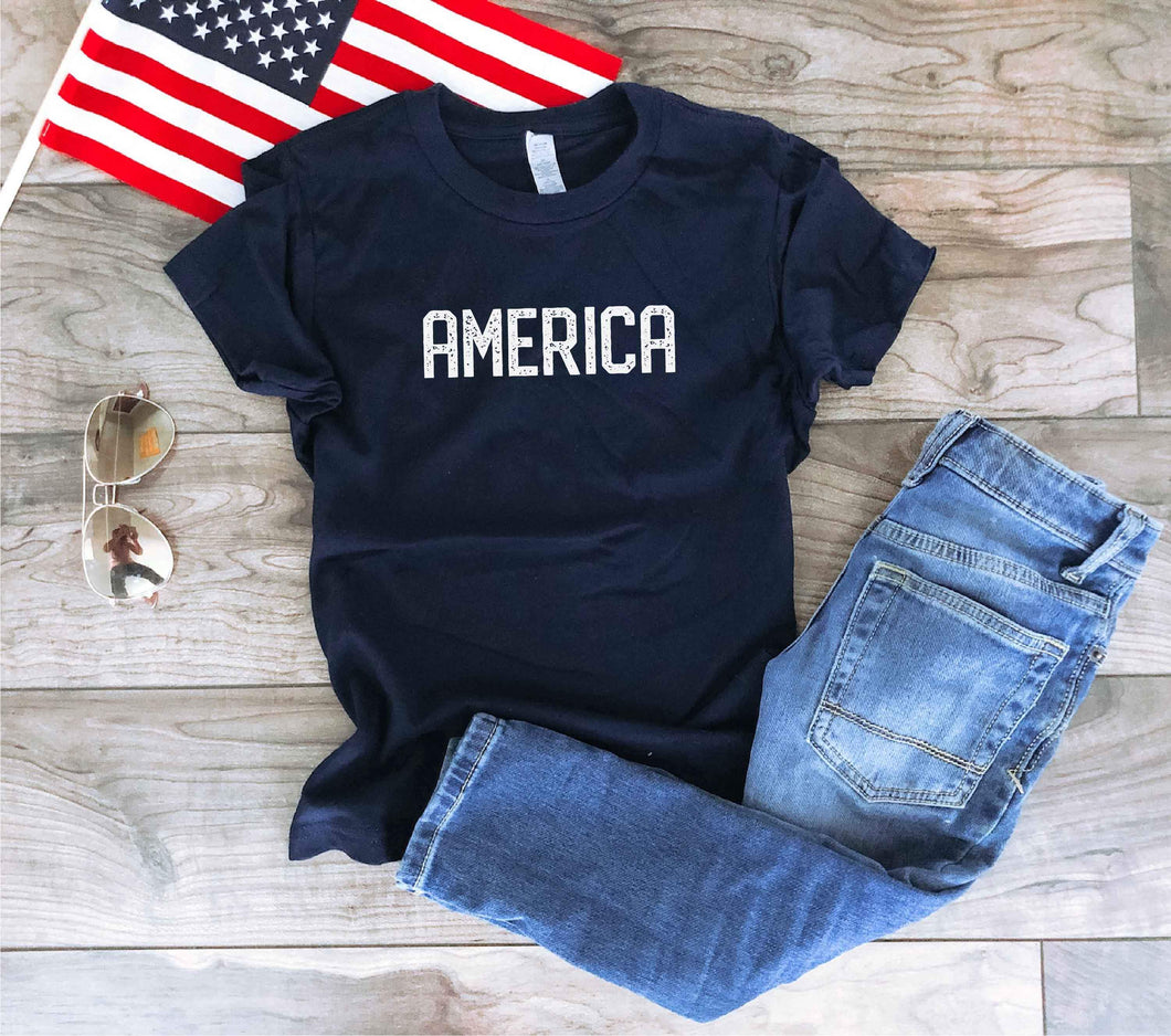 America blockletter kids tee Short sleeve patriotic kids tee Bella canvas 3001y 2t Navy