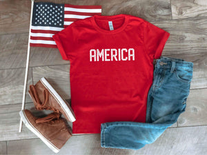 America blockletter kids tee Short sleeve patriotic kids tee Bella canvas 3001y
