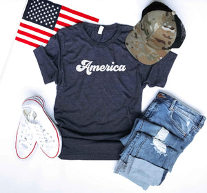 America tee Short sleeve patriotic tee Bella Canvas 3001 XS Heather navy