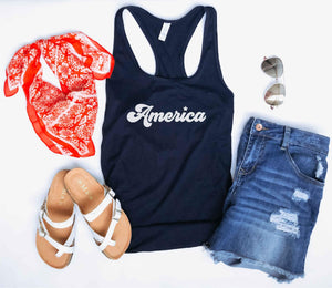 America women's racerback tank Patriotic tank Next Level 1533 tank S Navy