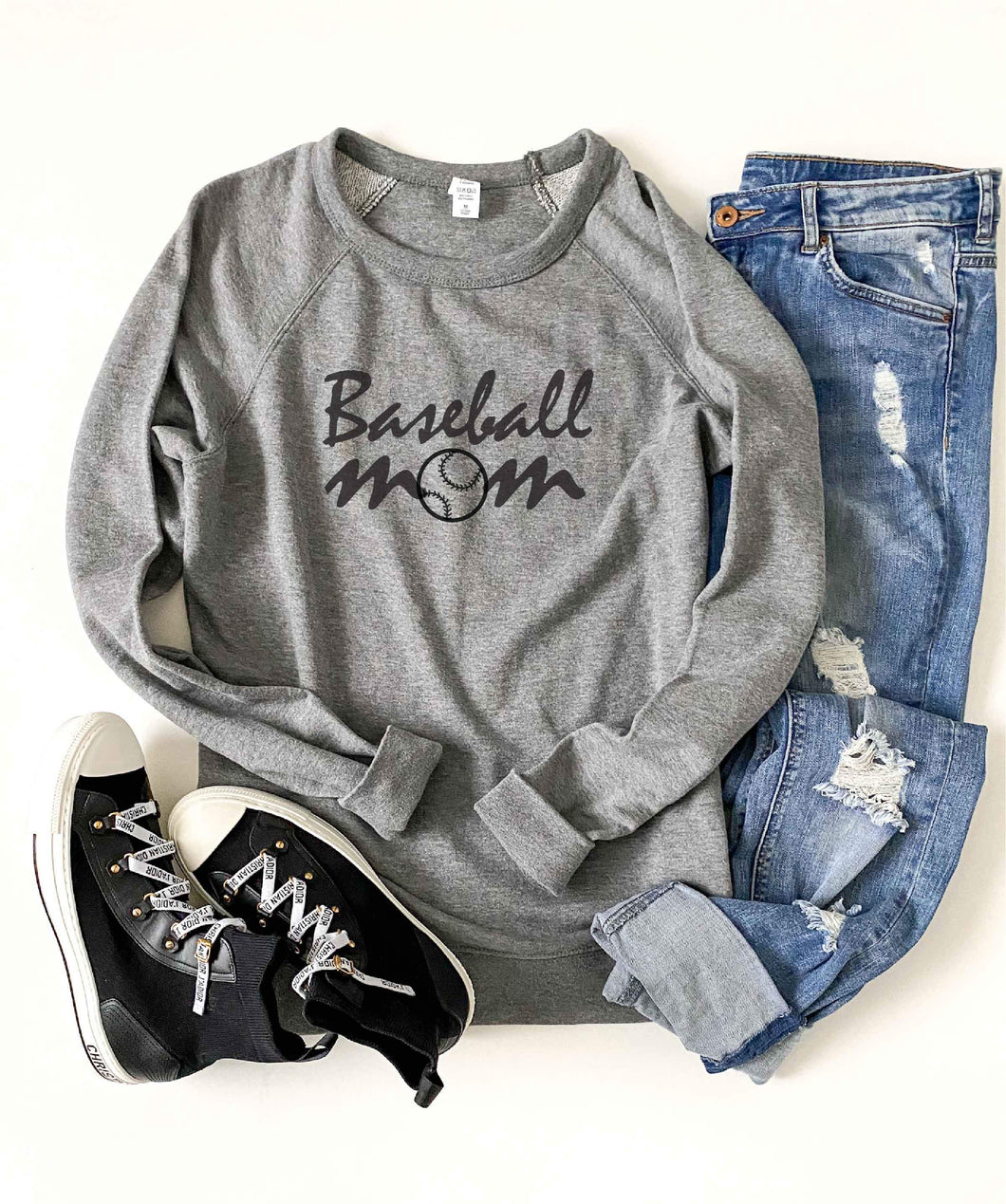 Baseball mom french terry raglan sweatshirt Baseball french Terry raglan Lane seven French Terry raglan