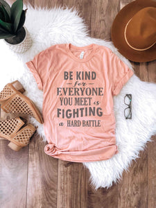 Be kind for everyone you meet Short sleeve miscellaneous tee Bella Canvas 3001 XS Peach
