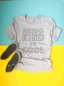 Being kind is cool kids tee Kids Short sleeve tee Next Level 3310 kids tee heather grey