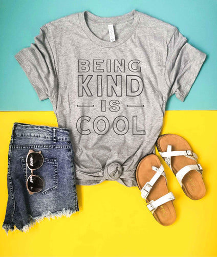 Being kind is cool tee Short sleeve graphic tee Bella Canvas 3001 athletic Heather