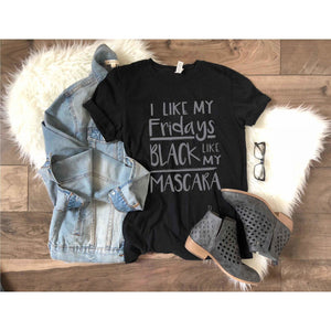 Black Fridays and mascara tee Short sleeve Black Friday tee Bella Canvas 3001 black