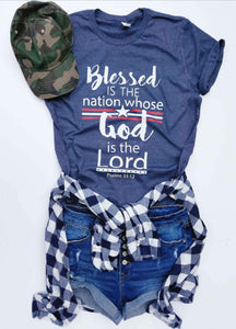 Blessed is the nation kids tee Short sleeve patriotic kids tee Bella canvas kids tee XS Navy