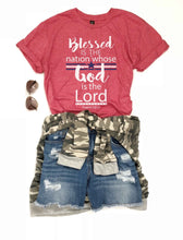 Blessed is the nation kids tee Short sleeve patriotic kids tee Bella canvas kids tee XS Red