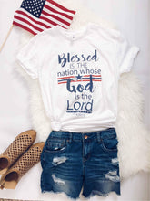 Blessed is the nation kids tee Short sleeve patriotic kids tee Bella canvas kids tee XS White