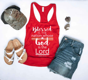 Blessed is the nation women's racerback tank Patriotic tank Next Level 1533 tank S Red