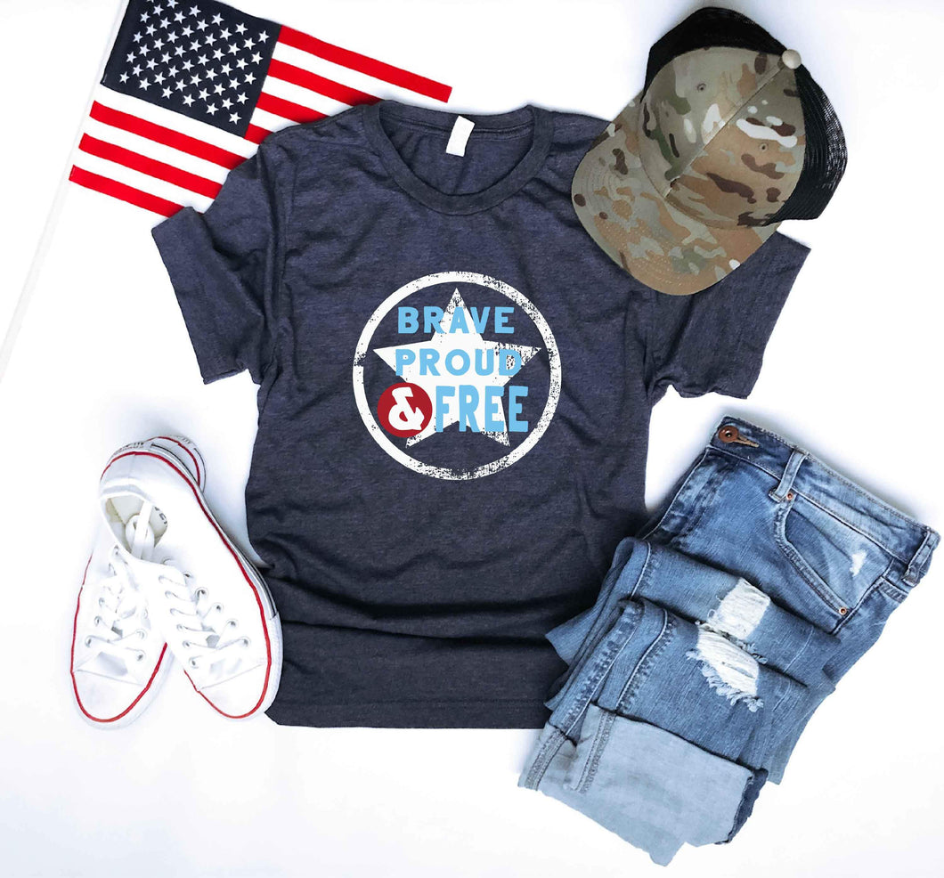 Brave proud free tee Short sleeve patriotic tee Bella Canvas 3001 heather navy