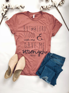 But the Lord stood with me Short sleeve miscellaneous tee Bella Canvas 3001 heather dusty blue