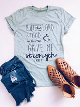 But the Lord stood with me Short sleeve miscellaneous tee Bella Canvas 3001 heather dusty blue XS Ice blue