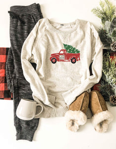 Christmas truck french terry raglan sweatshirt Holiday French Terry raglan Cotton heritage and lane seven French Terry raglan