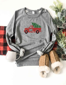 Christmas truck french terry raglan sweatshirt Holiday French Terry raglan Cotton heritage and lane seven French Terry raglan XS Heather grey