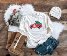 Christmas truck long sleeve cream or oatmeal tee Long sleeve holiday tee Cotton heritage long sleeve