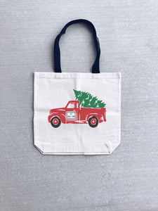 Christmas truck tote bag Holiday tote bag Heavy canvas tote bag- natural/black- medium