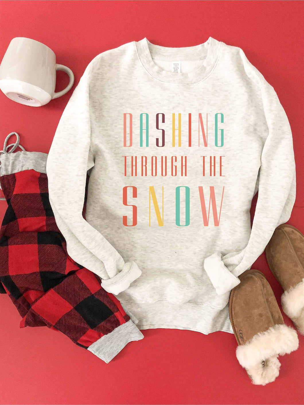 Dashing through the snow fleece sweatshirt Holiday French Terry raglan Lane seven and cotton heritage French Terry raglans