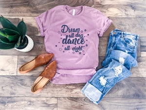 Dream all day tee Short sleeve inspirational tee Bella Canvas 3001 heather orchid
