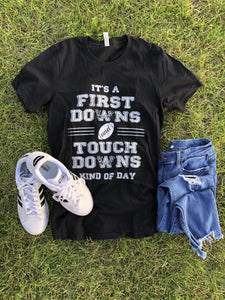 First downs and touchdowns kids tee Short sleeve kids tees Bella canvas 3001y 2t Black